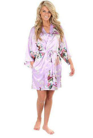 Faux Silk Animal Print Short Sleeves Mini Night Robe