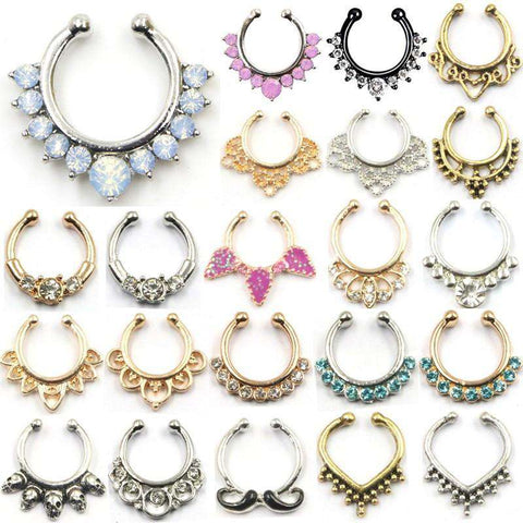 Rings Fake Septum Piercing Hanger Clip On Body Jewelry For Women