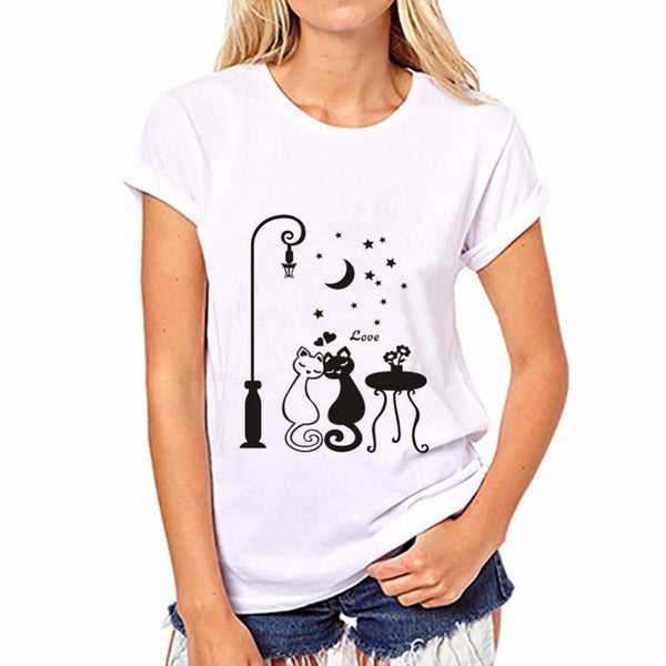 Cat Printed O-Neck Short Sleeve T Shirt Women