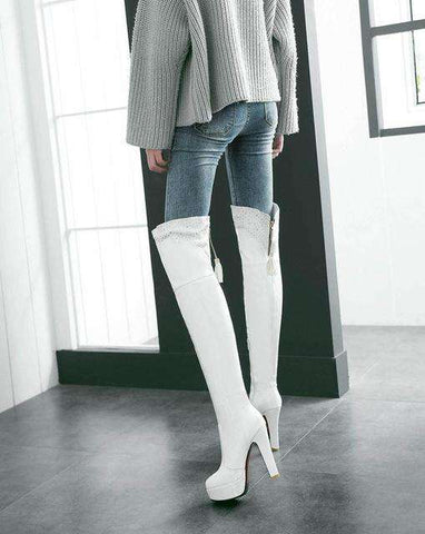 Over the Knee Pu Leather Winter Women Boots