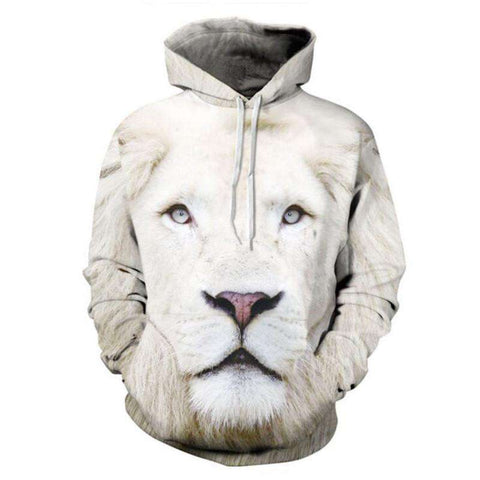 Hoodies Men Style 3D White Lion Printed Hoodies