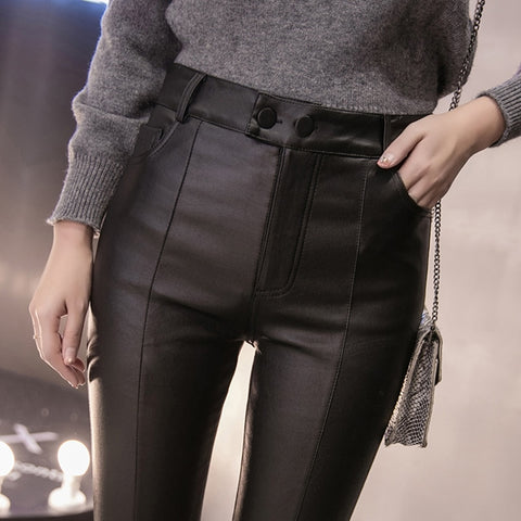 Women Thick PU Leather Plus Size Pencil Pants Trousers