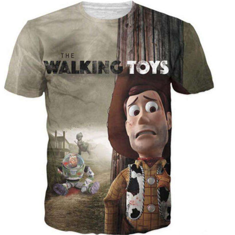 Mens 3D The Walking Toys Printed T Shirt Casual Short Sleeve