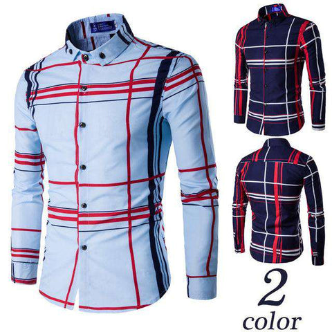 Casual Striped Fashion Slim Fit Men Long Sleeve Shirt
