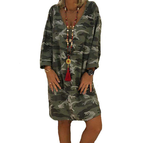 camouflage print women long sleeve v-neck party dress