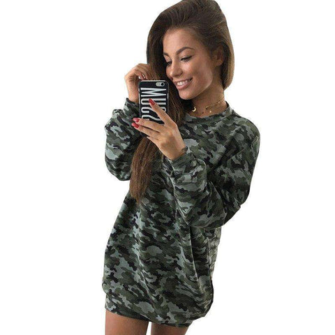 Long Sleeve Camouflage Print Casual Dress Women