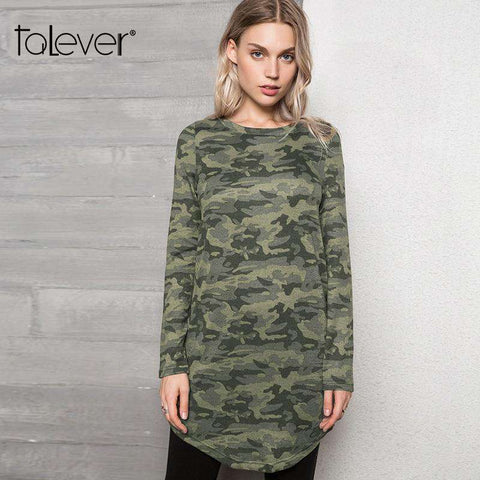 Camouflage Long Sleeve Curved Hem Dress Women