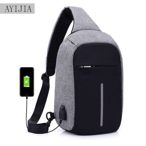 Men's USB Charging Shoulder Anti-theft Crossbody Bag