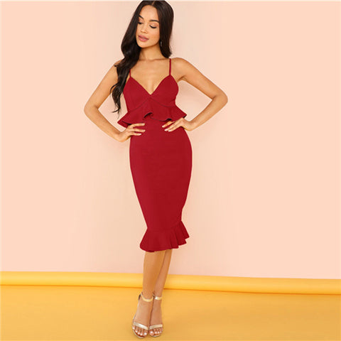 Red V-Neck Spaghetti Strap Ruffle Party Dress