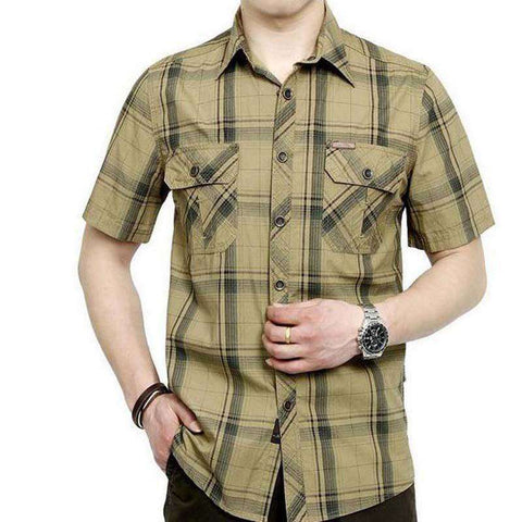 men 100% pure cotton plaid loose short sleeve shirts
