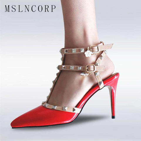 Fashion Women Pointed Toe High Heels T Strap Sandals