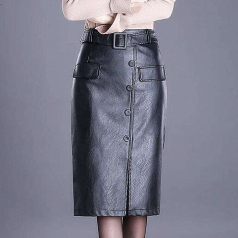 Women's PU leather over the knee step button front slit skirt