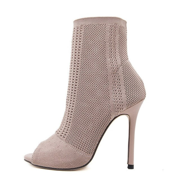 Women Open Toe Fashion Knit Sock Ankle Boots