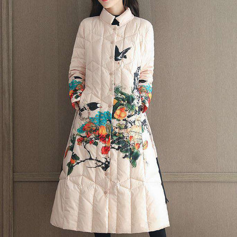 embroidery printing women winter long cotton jacket