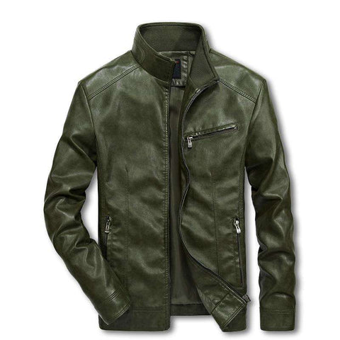 Men Bomber Suits Windbreaker Motorcycle Leather Jacket