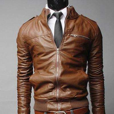 Men Leather Outerwear Stand Collar Coat Jackets