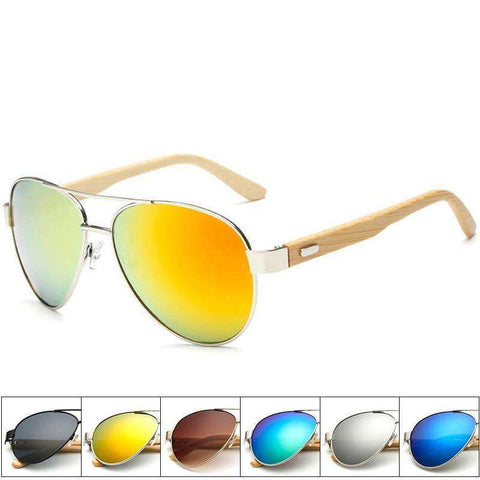 Anti-Reflective UV400 Protection Wood Bamboo Frame Sunglasses Unisex