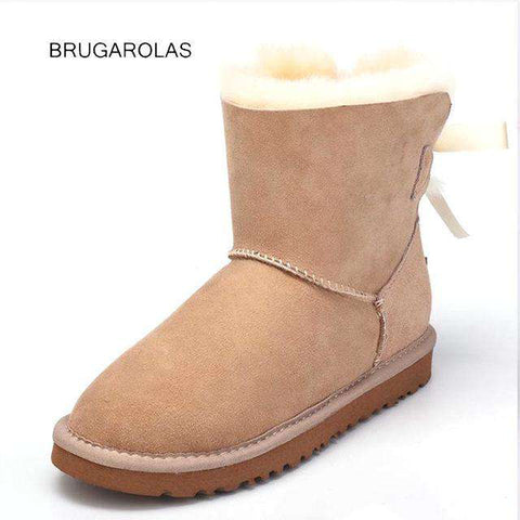 Genuine Wool Waterproof Sheepskin Women Snow Boots