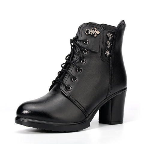 Women Genuine Leather Ankle High-heeled Boots