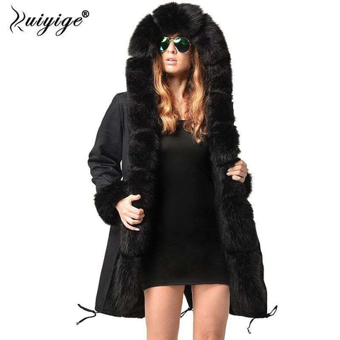 New Winter Fur Hooded Jacket Women