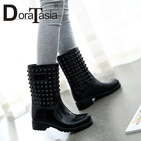 Women Mid Calf Waterproof Rain Boots