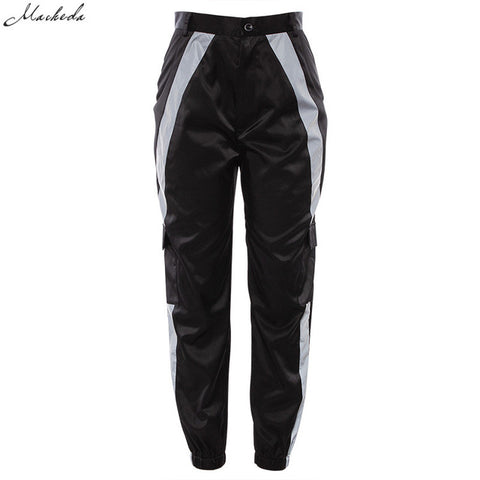 Women Patchwork Reflective Striped Sweatpants
