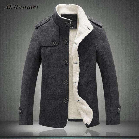 Men's Fleece Lined Thick Coat Wool Blend Jacket