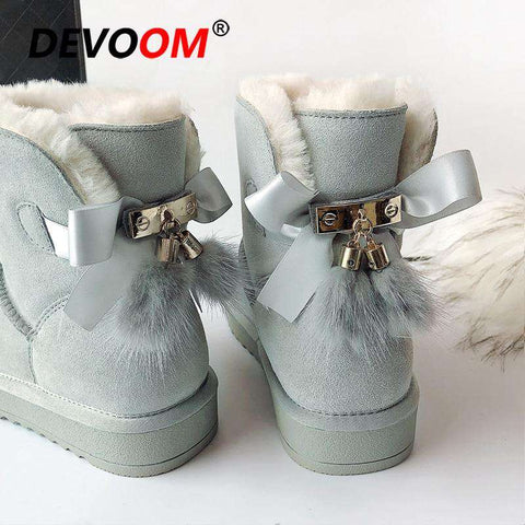 Women Ankle Length Genuine Leather Snow Boot