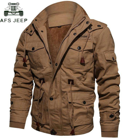 Men Thick Warm Fleece Tactical Army Parka Jacket