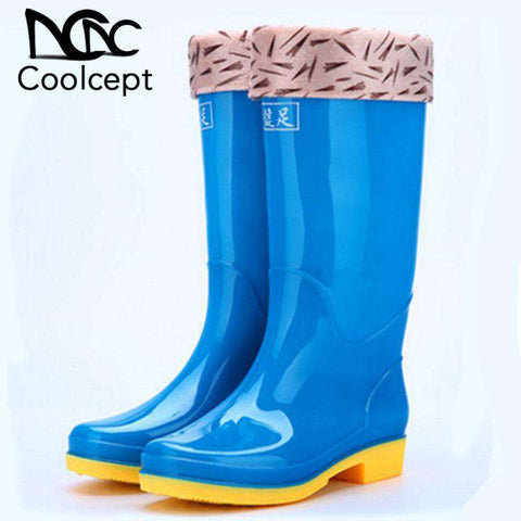 Women Waterproof Solid Color Knee High Boots