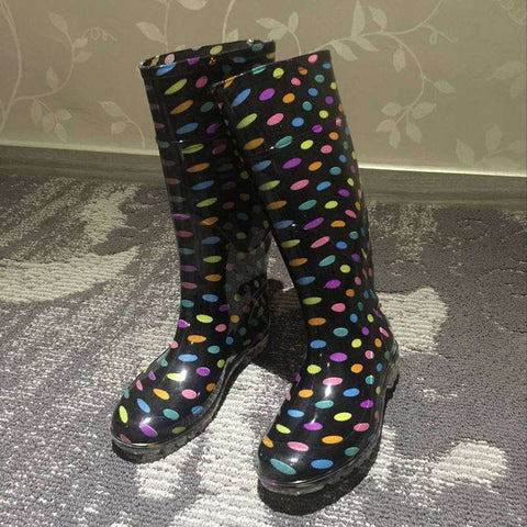 Knee-High Casual Slip On Rain Boots Women