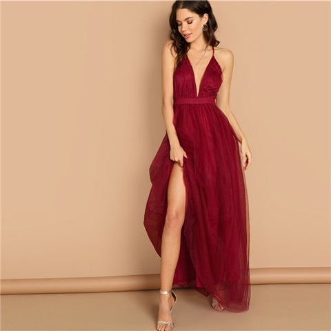 Burgundy Deep V Neck Crisscross Back Party Dress