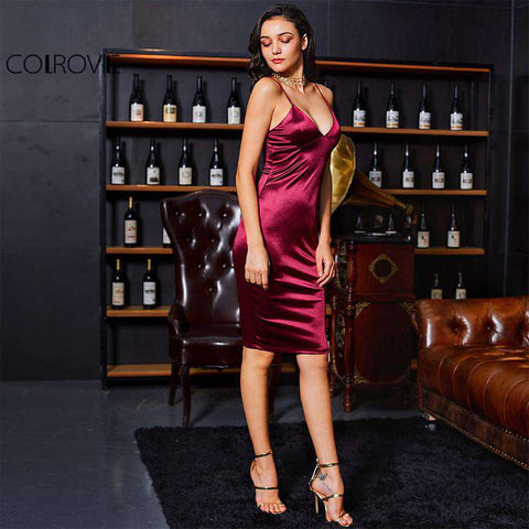 Deep V Neck Burgundy Bodycon Strap Satin Party Dress