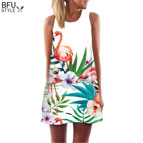 Casual Floral Print Boho Sleeveless Chiffon Dress Women