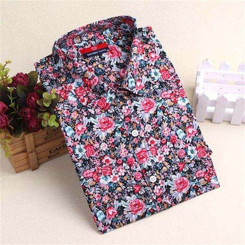 Floral Women Cherry Print Blouse Long Sleeve Shirt