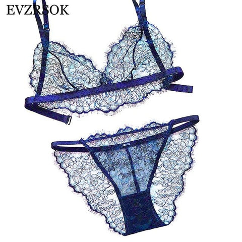 Women Sexy Embroidery Lingerie Seamless Set Bra