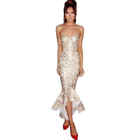 Fashion Embroidery Sleeveless Backless Party Long Dress Women