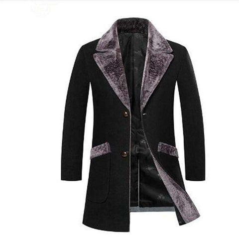 Men Slim Fit Casual Fur Collar Long Peacoat Jackets