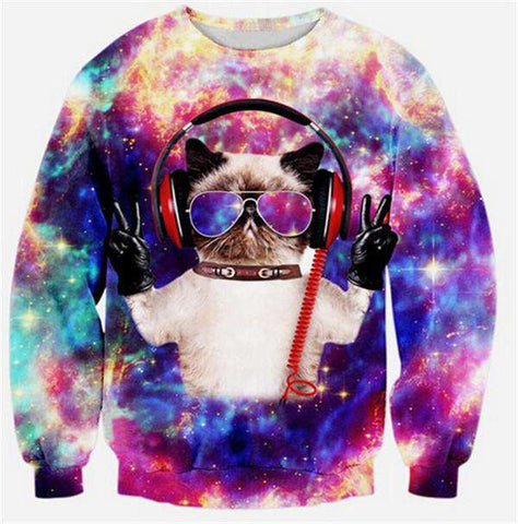 Men 3d Print Galaxy Space Cat Sweatshirt Hoodie