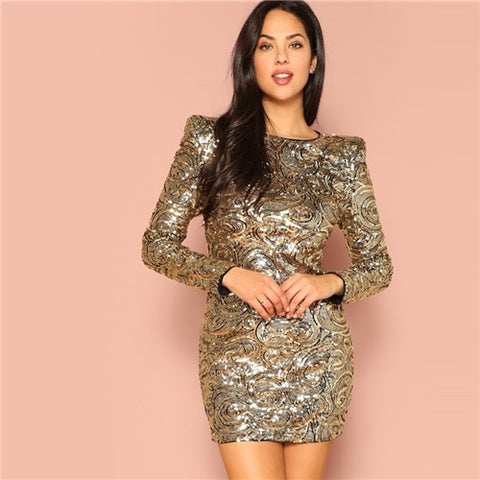 Gold Sequined Round Neck Long Sleeve Bodycon Party Dress