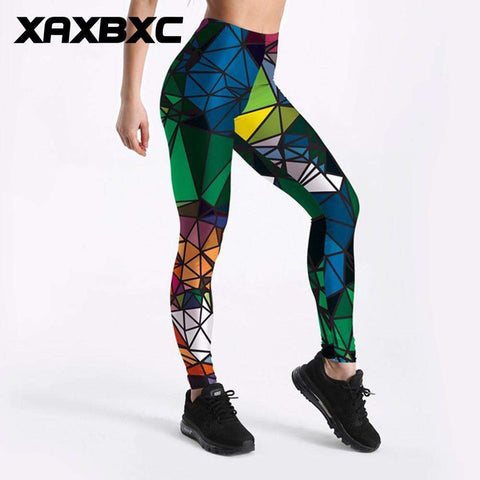 High Waist Triangle Prints Fitness Workout Women Leggings