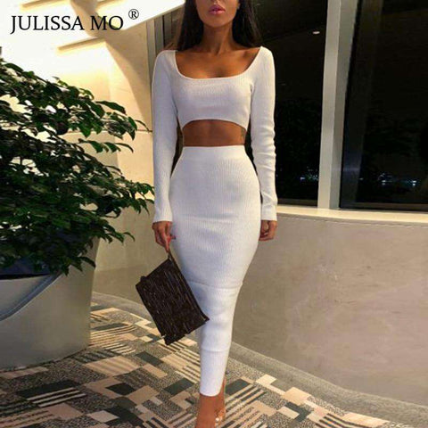 Women 2 Piece Set Knitted Long Sleeve Maxi Dress