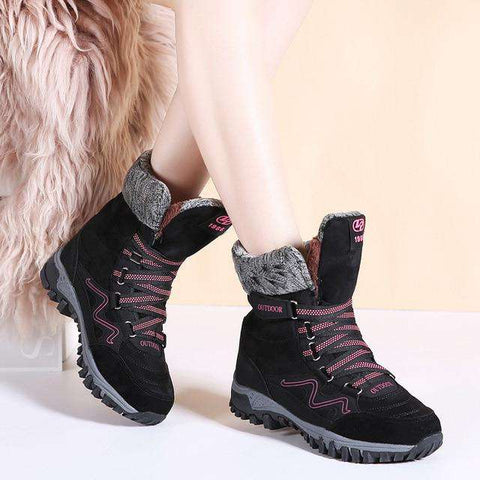 Women Leather Suede Warm Lace-up Waterproof Boots