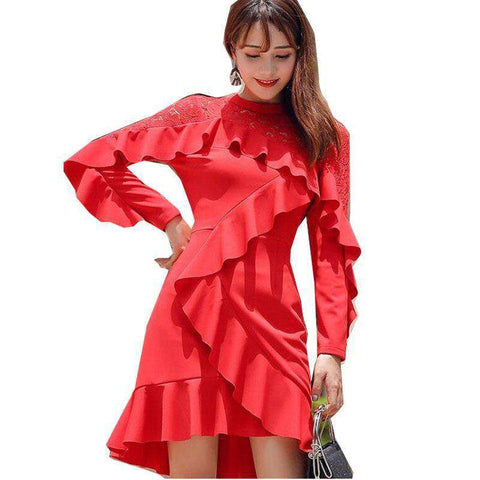 Hollow Out Crochet Long Sleeve Red Mini Dress Women