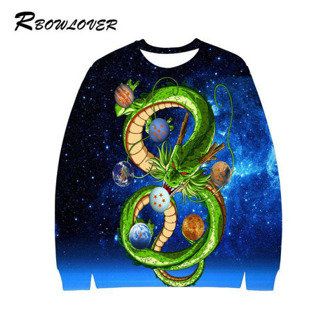 Man Anime 3D Dragon O-Neck Full Sleeves Hoodies Sweatshirt