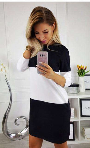 O-Neck Long Sleeve Women's Stitching Casual Dress