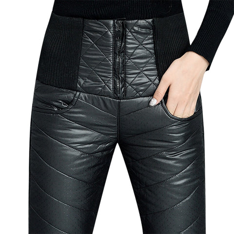 Women Winter Windproof Velvet Thick Down Pants Trousers