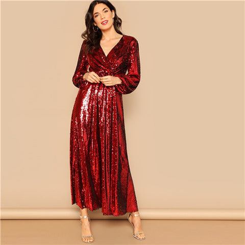 Red Front Wrap Lantern Sleeve Sequin Party Dress