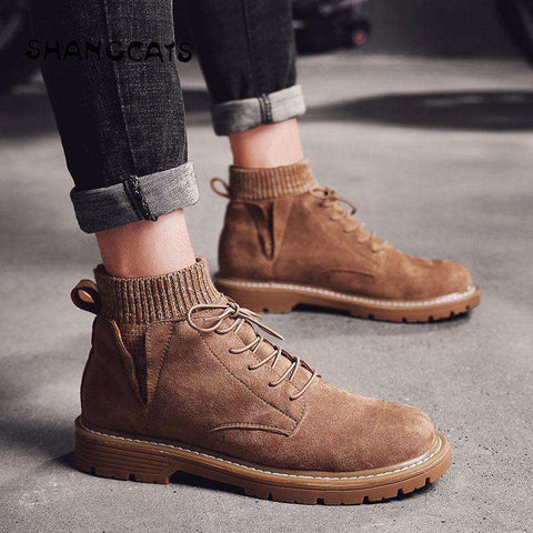 Men Vulcanized winter warm ankle shoes