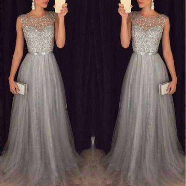 Fashion Sequin Patchwork Sleeveless O Neck Long Slim Elegant Dress